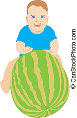 The child with a water-melon. The big water-melon. The...