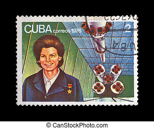 CUBA - CIRCA 1976: cancelled stamp printed in CUBA, shows...