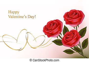 Valentine`s day background Red roses with red hearts Vector...