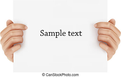 Two hands holding business object. Vector illustration