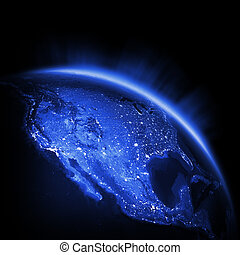 USA city lights Earth lights 3d render, maps courtesy of...