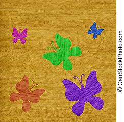 Butterflies of wood veneer - Marquetry, colored butterflies...