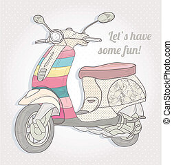 Colorful vintage scooter. Postcard, greeting card or...