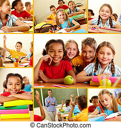 At school - Collage of smart schoolchildren at school