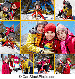 Winter vacation - Collage of happy friends on winter...