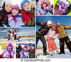 Glad kids - Joyful kids in winterwear having happy time...