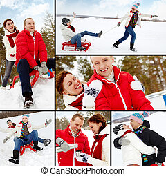 Dates - Collage of happy couple having great winter...