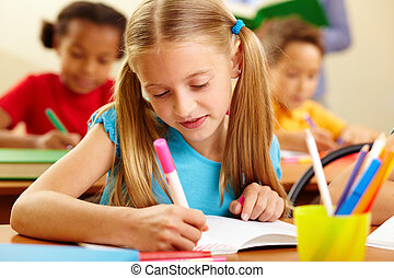 Lesson of drawing - Portrait of lovely girl drawing with...