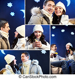 Winter time - Collage of happy couple in winter clothes...