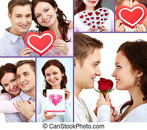 Amorous couple - Collage of happy and amorous people on St....