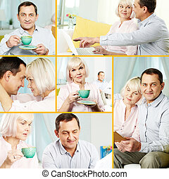 Mature couple - Collage of mature man and his wife spending...
