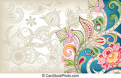 Turquoise Floral Background - Illustration of abstract...