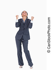 Cheerful businesswoman against a white background