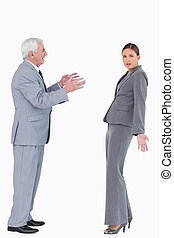Businesswoman getting accused by colleague