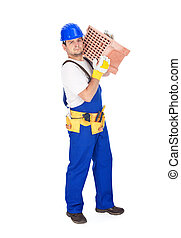 Worker carrying brick - isolated