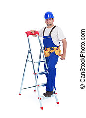 Handyman or worker leaning against ladder