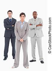 Confident sales team standing together