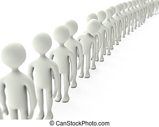 Queue - Character stands in queue isolated on a white...