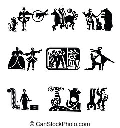 theater-cinema-circus-ballet - Collection of icons - the art...
