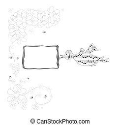 Decorative music theme, bird with blank frame