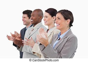 lado, vista, Aplaudir, ventas, equipo, posición,...