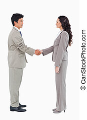 Side view of hand shaking trading partners against a white...