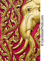 elephant carved gold paint