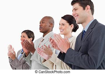 lado, vista, aplaudiendo, empresa / negocio, equipo,...