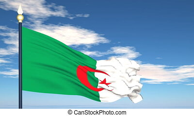 Flag Of Algeria on the background of the sky and flying...