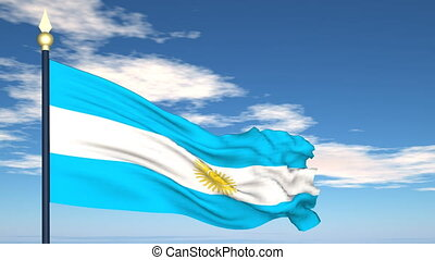 Flag Of Argentina on the background of the sky and flying...