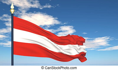 Flag Of Austria on the background of the sky and flying...