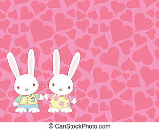 Valentine's card with lovely bunnies