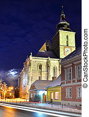 The Black Church is a cathedral in Brasov, a city in...
