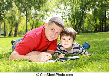 Father with his son in the park - Father with his son...