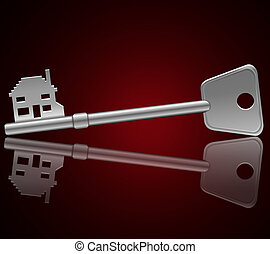 Home security concept - Illustration depicting a single key...