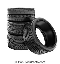 tires - Tires stacked up and isolated on white background
