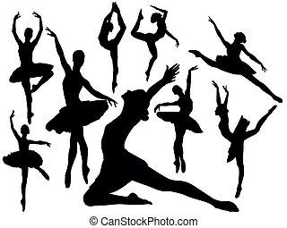 Vector - Ballet dancers silhouettes - Set of ballet dancers...