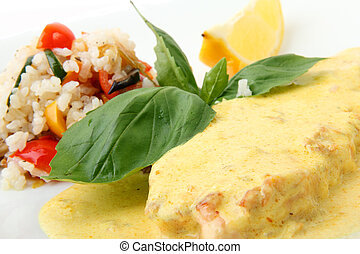 Scottish salmon steak in a creamy saffron sauce - Scottish...