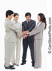 negócio, equipe, Executar, próprio,...