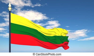 Flag Of Lithuania on the background of the sky and flying...