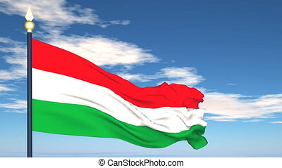 Flag Of Hungary on the background of the sky and flying...
