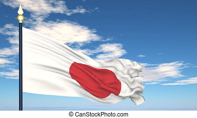Flag Of Japan on the background of the sky and flying clouds...