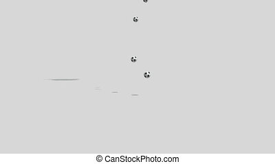 Soccer balls falling on a white background