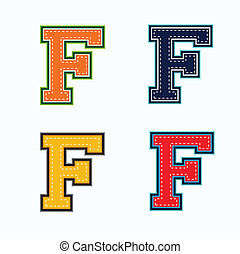 F college letter in 4 colors