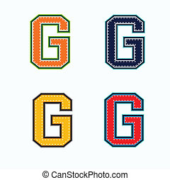 G college letter in 4 colors