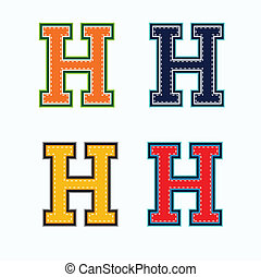 H college letter in 4 colors