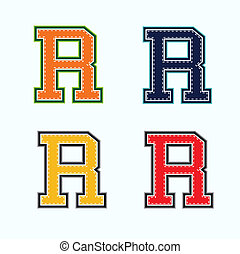R college letter in 4 colors