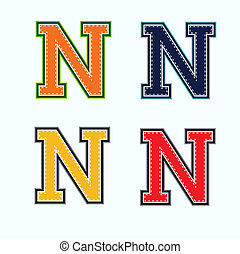 N college letter in 4 colors