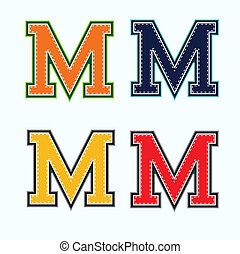 M college letter in 4 colors