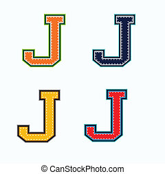J college letter in 4 colors